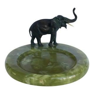 Elephant Bronze With Onyx Bowl