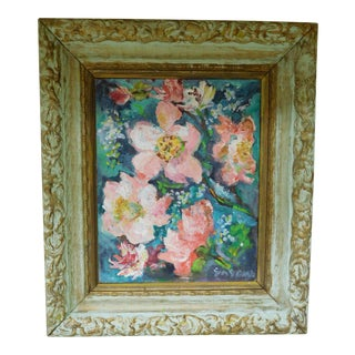 C1950s Rustic Framed Hibiscus Floral Painting