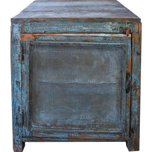 Light Blue Mesh Wood Cabinet - Image 3 of 4
