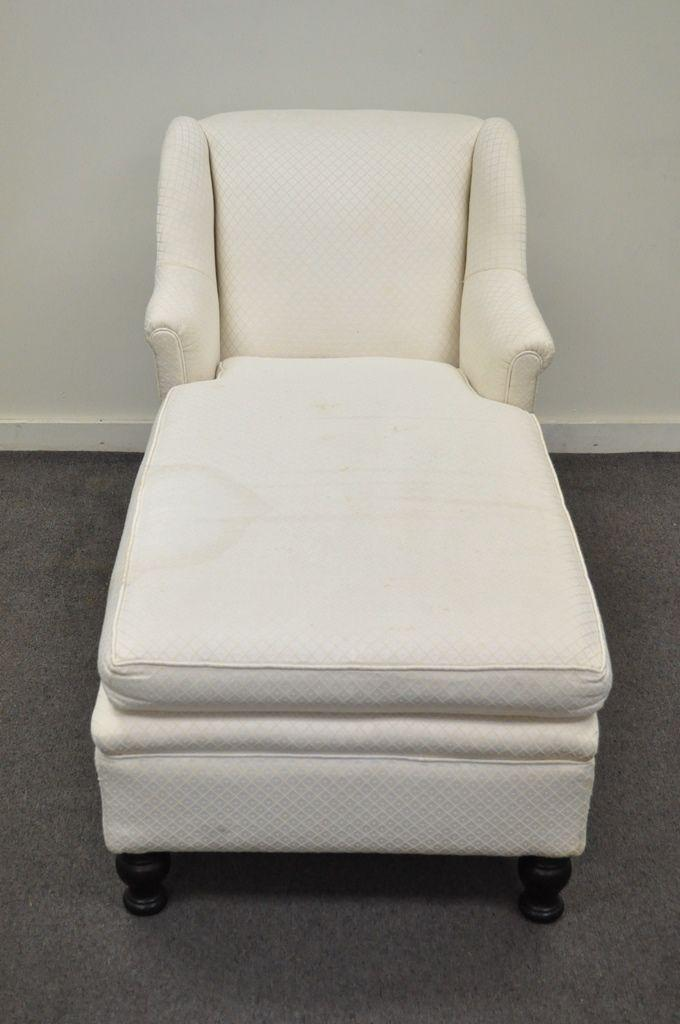 Antique French Empire Style Chaise Lounge Fainting Couch Sofa Bun Feet  Recamier For Sale   Image