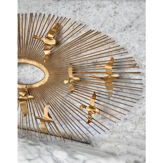 William Friedle Mid-Century Brass Sunburst Birds in Flight Wall Sculpture by William Friedle For Sale - Image 4 of 13