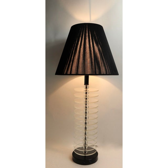 Glass Lucite Disk and Glass Ball Table Lamp For Sale - Image 7 of 9