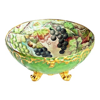 Antique Handpainted T & V Limoge Footed Serving Bowl For Sale