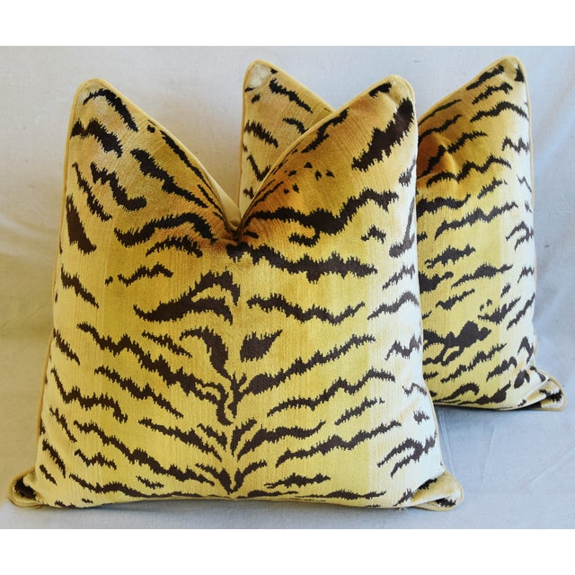 """Feather Scalamandre Le Tigre Tiger Silk Velvet Feather/Down Pillows 23"""" Square - Pair For Sale - Image 7 of 10"""