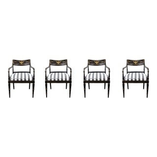 Empire Period Black Chairs With Gilding For Sale
