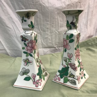Porcelain Hand Painted Candle Holders - A Pair Preview
