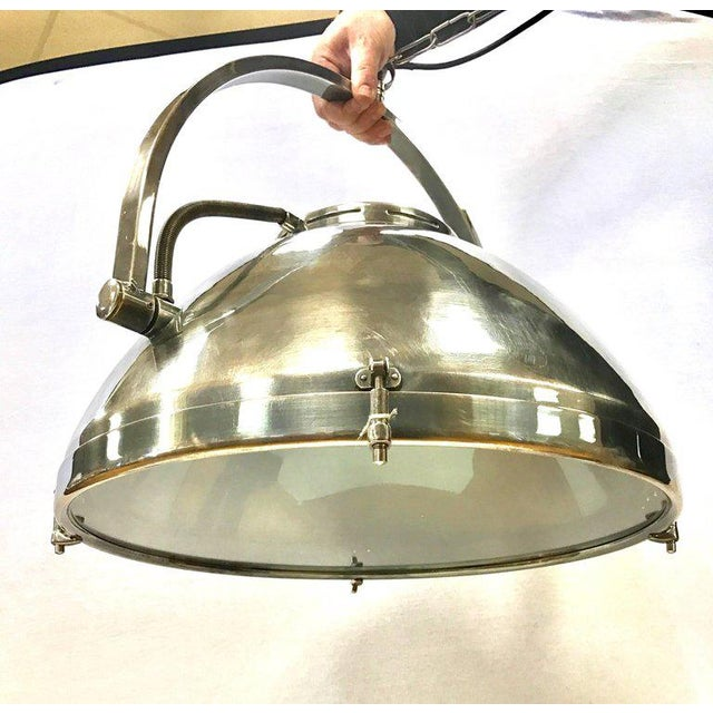 Pair of Industrial Mid Century Hanging Pendant Light Fixtures Lighting For Sale - Image 9 of 11