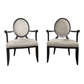 Barbara Barry for Baker Furniture Oval X Back Arm Chairs - A Pair For Sale
