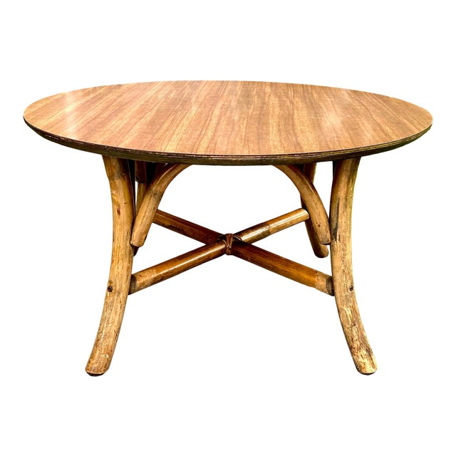 Mid Century J. B. VanScriver Round Dark Rattan Coffee Table For Sale