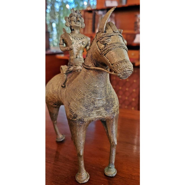 Gold Antique Indian Dhokra Horse and Rider Sculpture For Sale - Image 8 of 11