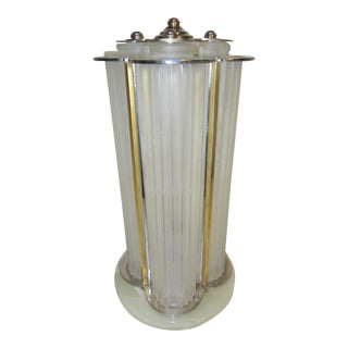 Signed Sabino Frosted Art Glass Table Lamp in Nickel With Brass Detail For Sale