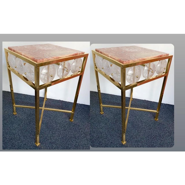 Contemporary Pair of Brass Side Table Rock Cristal Onix, Italy For Sale - Image 11 of 11