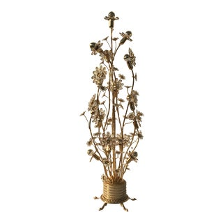 Illuminated Crystal Flower and Brass Floor Lamp by Palwa