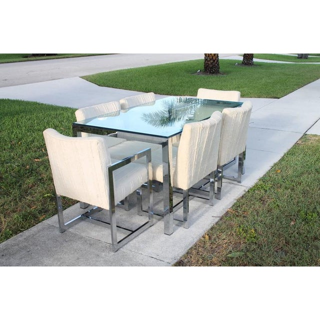 Mid 20th Century Milo Baughman for DIA Mid-Century Chrome Table & Chairs Dining Set - Set of 7 For Sale - Image 5 of 11