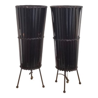 1950s Tony Paul Bamboo Table Lamps - a Pair For Sale