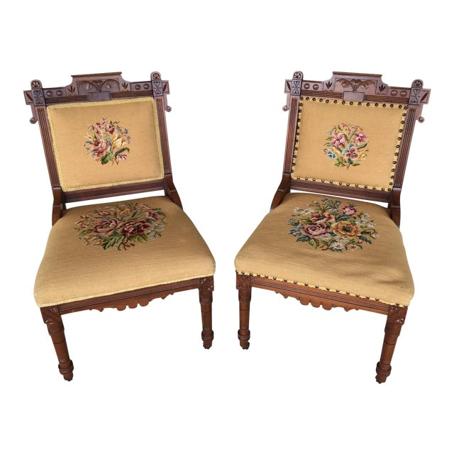 Pair of Victorian Eastlake Needle Point His & Hers Accent Chairs For Sale