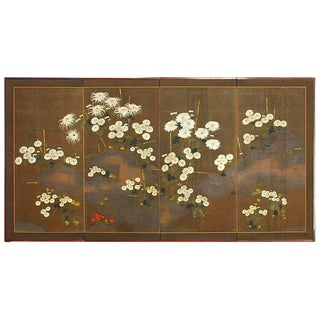 Japanese Meiji Four-Panel Moriage Style Chrysanthemum Screen For Sale