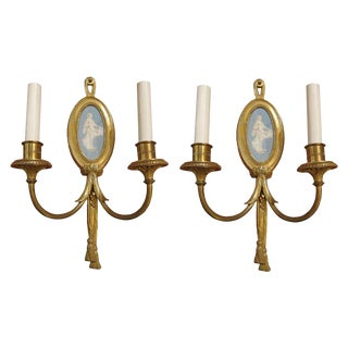 Wedgewood & Bronze Sconces - A Pair For Sale