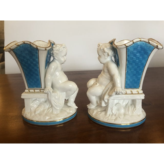 1940s Cherub Minton Caldwell Tiffany Blue and White Spill Vases -Pair For Sale - Image 5 of 11
