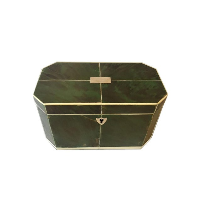 Wood Mid 18th Century Regency Faux Green Tortoiseshell and Bone Tea Caddy For Sale - Image 7 of 7