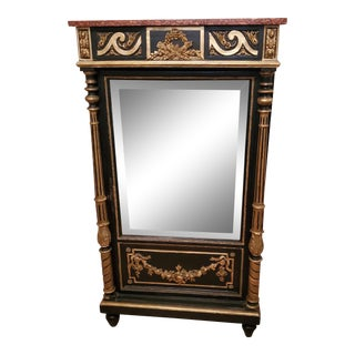French Louis XIV Style Napoleon III Second Empire Period Ebonized & Gilded Mirrored Side Cabinet For Sale