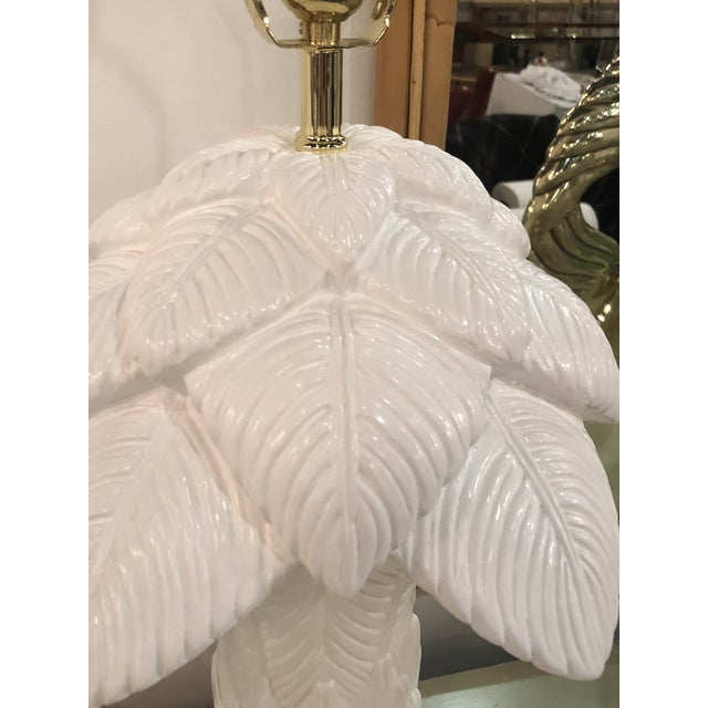 1970s Vintage White Lacquered Plaster Brass & Lucite Palm Tree Leaf Frond Table Lamps - a Pair For Sale - Image 9 of 13