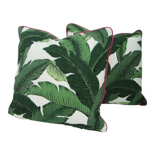 Green Palm Leaf Print Pillows - A Pair For Sale