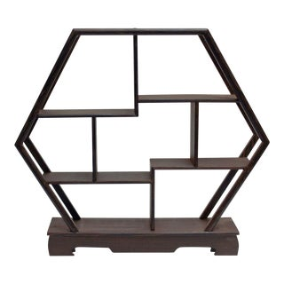 Gray Brown Wood Haxagon Small Table Top Curio Display Easel Stand For Sale