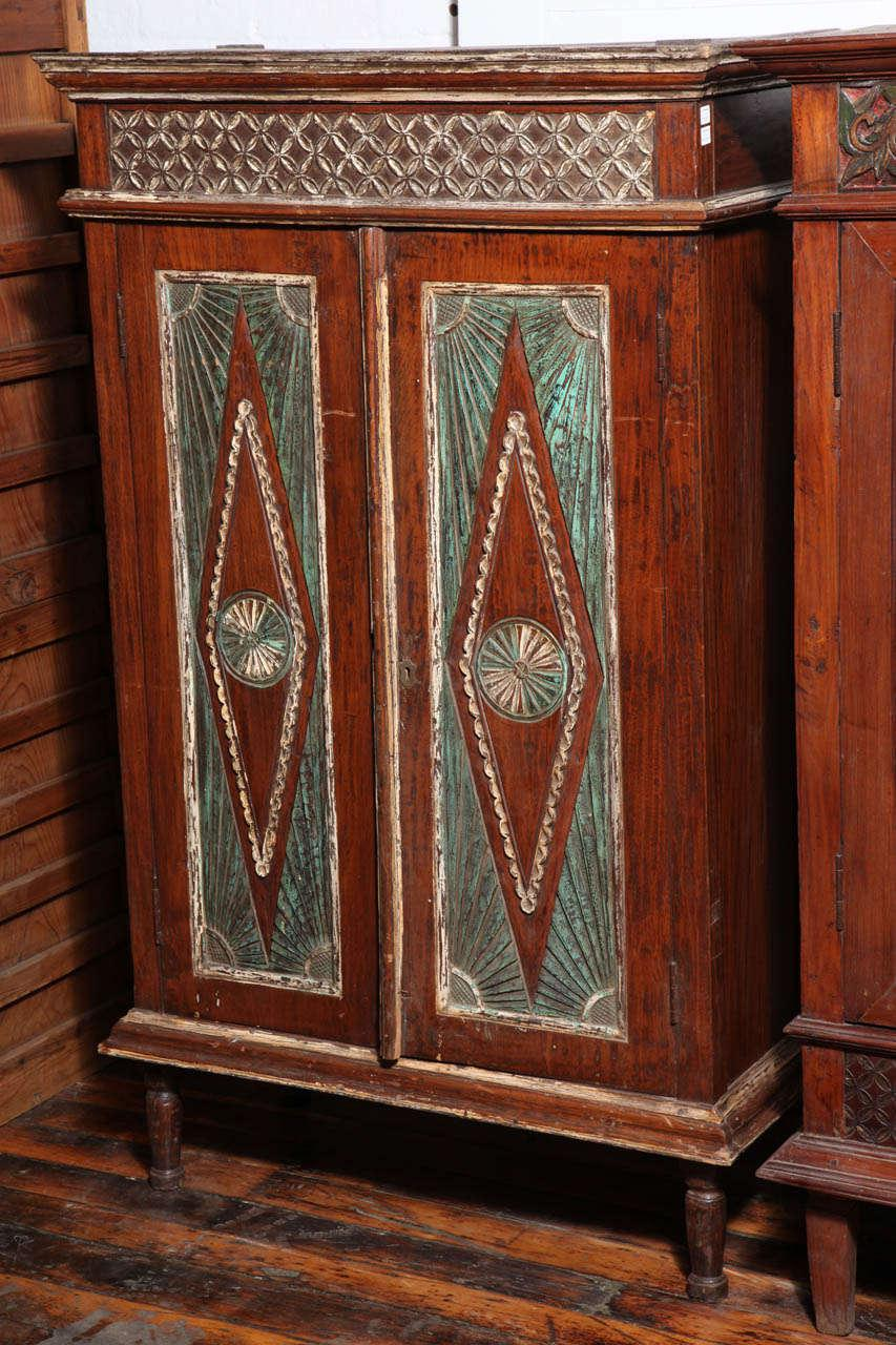 Early 20th Century Two-Door Painted Teak Javanese Cabinet with Diamond Patterns - Image 9  sc 1 st  Decaso & Distinguished Early 20th Century Two-Door Painted Teak Javanese ...