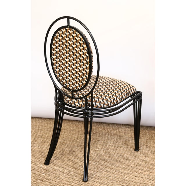 Metal Upholstered Oval Back Chairs - a Pair For Sale - Image 7 of 8