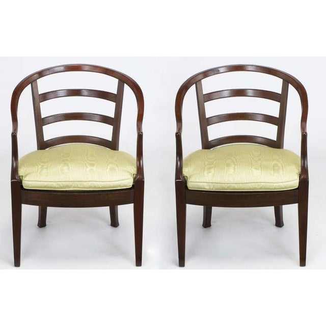 Pair Bert England For Baker Mahogany Barrel Back Arm Chairs - Image 2 of 10