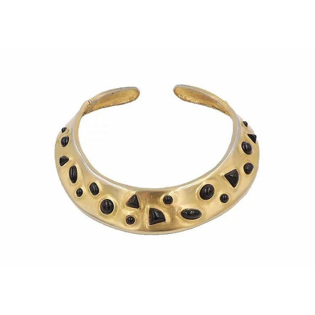 1980s Les Bernard Faux-Onyx Cabochon Collar Necklace For Sale - Image 9 of 9