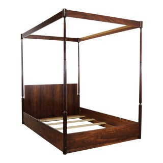 Vintage Mid-Century Arne Hovmand-Olsen Rosewood Canopy Full-Size Bed For Sale