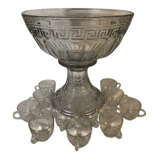 Antique 1930s Heisey Punch Bowl and Stand With Cups - 15 Piece Set For Sale