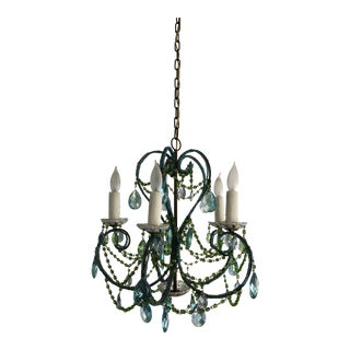 Vintage 1940s Mid-Century Blue and Green Crystal Bronze Chandelier For Sale