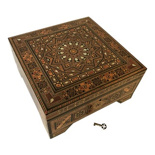 Turkish Inlaid Marquetry Mosaic Box With Key For Sale