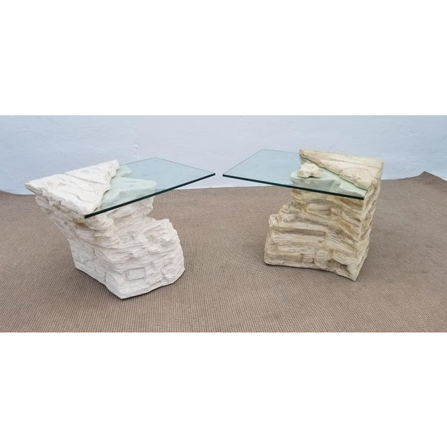 Sirmos Faux Rock Plaster Side Tables - a Pair For Sale - Image 13 of 13