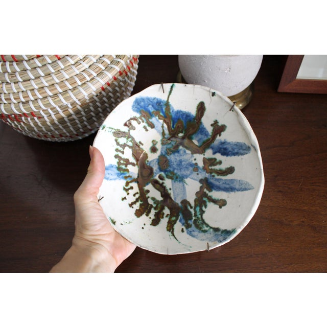 Vintage Handmade Hand Glazed Studio Art Black Clay Pottery Bowl For Sale - Image 4 of 8