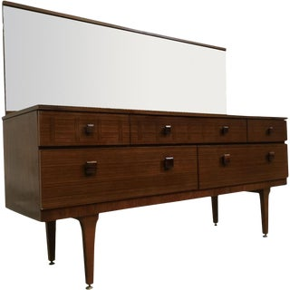 Mirrored Mid-Century Modern Dresser With Wood Inlay For Sale