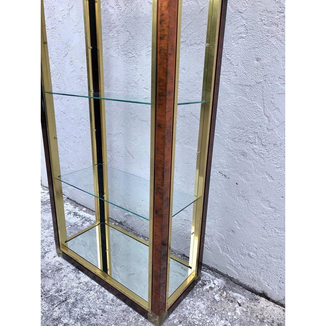 Midcentury Brass and Acid Washed Étagère, Attributed to Mastercraft For Sale In West Palm - Image 6 of 10