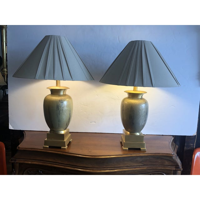 Enameled Brass Table Lamps - a Pair For Sale - Image 10 of 10