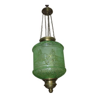 """C1890 French Antique Napoleon III Emerald Green Signed """"Baccarat"""" Crystal Electrified Lantern For Sale"""