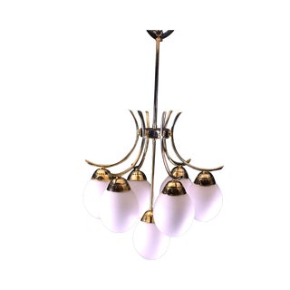 Mid-Century Space Age White Seven Globes Brass Chandelier, France For Sale