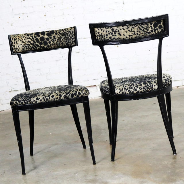 Pair Black Art Deco and Animal Print Side Chairs Cast Aluminum by Crucible Products For Sale - Image 4 of 13