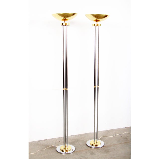 Vintage Hollywood Regency Chrome & Brass Torchiere Floor Lamps - a Pair For Sale - Image 11 of 11