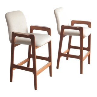 Vintage Mid Century Benny Linden Teak Bar Stools- a Pair For Sale