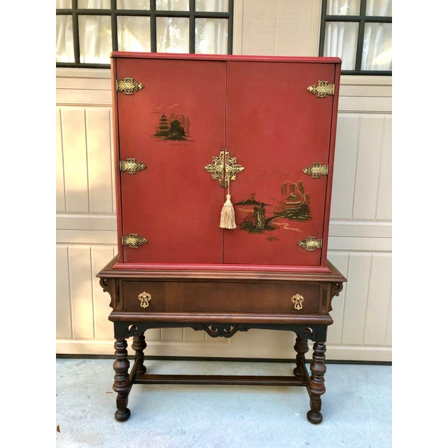 Chinese Red Cabinet or Dry Bar For Sale - Image 13 of 13