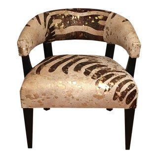 Stylish Designer Leather Barrel Chair With Exotic Zebra Stripe For Sale