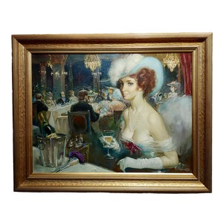 The High Society Dinner Party - Oil Painting -Signed For Sale