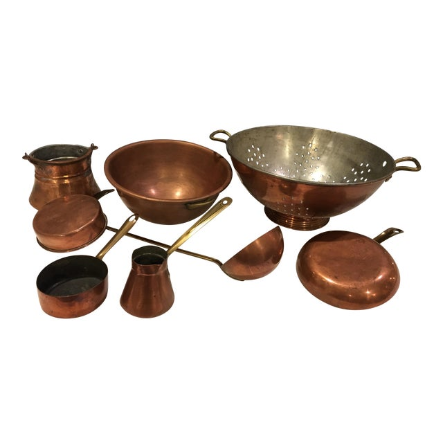 Vintage Copper Pots & Pans - Set of 8 - Image 1 of 9